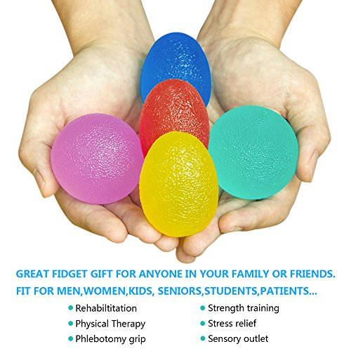 Hand Grip Strengthener Stress Relief Therapy Exercise Balls, UJoylify 5 Squeeze Hand Fidgets Stress Relief Balls -Hand Therapy Balls Exerciser Kit for Hand Finger Wrist Forearm Arthritis Therapy Rehab by UJoylify (Image #1)
