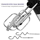 Aicok Hand Mixer 6 Speed Classic Stainless Steel Mixer Ultra Power Electric Mixer with Turbo and Easy Eject Button, Durable Handheld Mixer Includes Sturdy Beaters and Dough Hooks, Silver