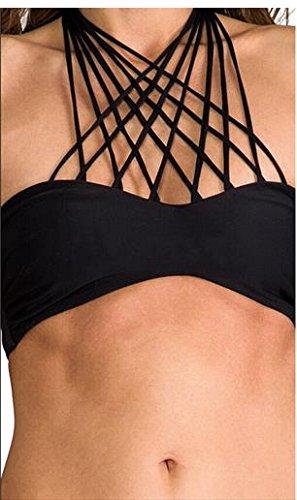 Moda Due Pezzi e Per Laccetti Intreccio Multi Nero Bikini Mare Donna Costume Da DK59 Bagno Ragazza Fwq6a6A