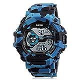 Sport Watch, LANIAKEA Digital Watch 50M Waterproof Electronic Wristwatch with Alarm Large Dial Electronic LED Backlight, Camouflage Blue