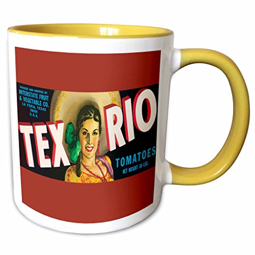 (3dRose BLN Vintage Label and Advertising Art - Tex Rio Tomatoes La Feria Texas with Pretty Girl in Colorful Outfit - 15oz Two-Tone Yellow Mug (mug_171117_13))