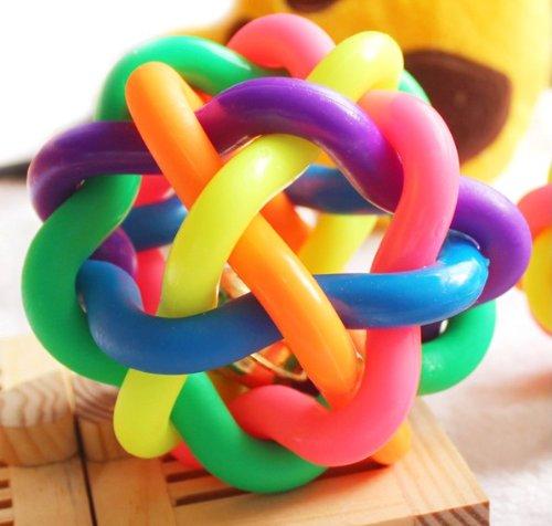 Neue bunte Glocke Twisted Ball Katze, Hund, Haustier Sound Spielzeug Gürtel Glocke Regenbogen Ball