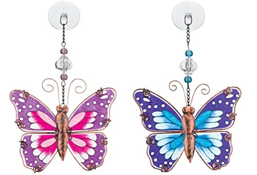 Suncatcher Garden Butterfly - Regal Art & Gift Suncatchers, Pink And Blue Butterflies Glass Sun Catcher for Home, Garden, Window and Wall Art