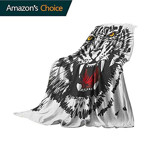 Tiger Sand Free Beach Blanket,Angry Feline with Black and White Pattern Realistic Eyes Hunting Surviving Microfiber All Season Blanket for Bed or Couch Multicolor,35