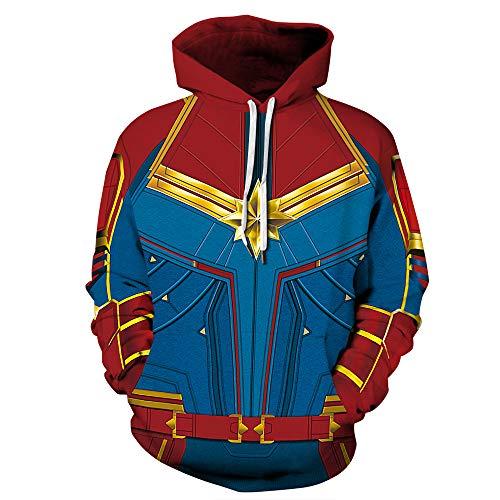 Womens Mens Superhero Hoodies Captain Marvel Halloween Cosplay -