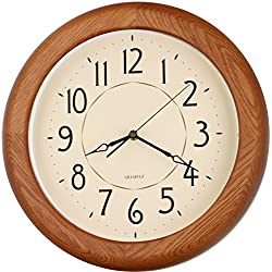 14-inch Finest Round OAK Solid Wood Quality Quartz Wall Clock, Home Decor (WW0400)