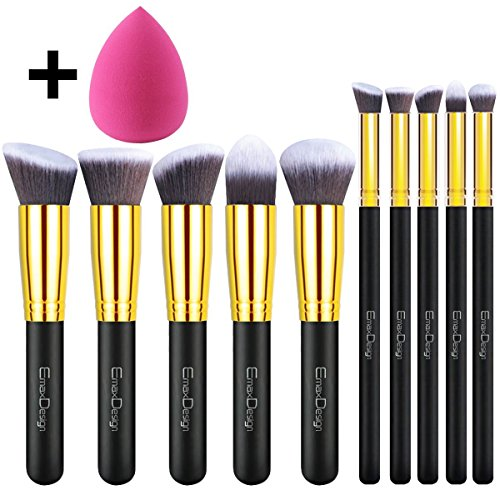 EmaxDesign 10+1 Pieces Makeup Brush Set, 10 Pieces Professio