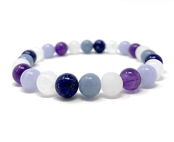 Connecting With Angels Bracelet - Stretch Healing Gemstone Bracelet - Soul  Cafe Gift Box & Tag - Angelite, Selenite, Lapis Lazuli, Moonstone,