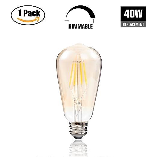 Edison LED bombilla, 4 W ST64 Vintage luz LED regulable bombillas, blanco cálido 2200