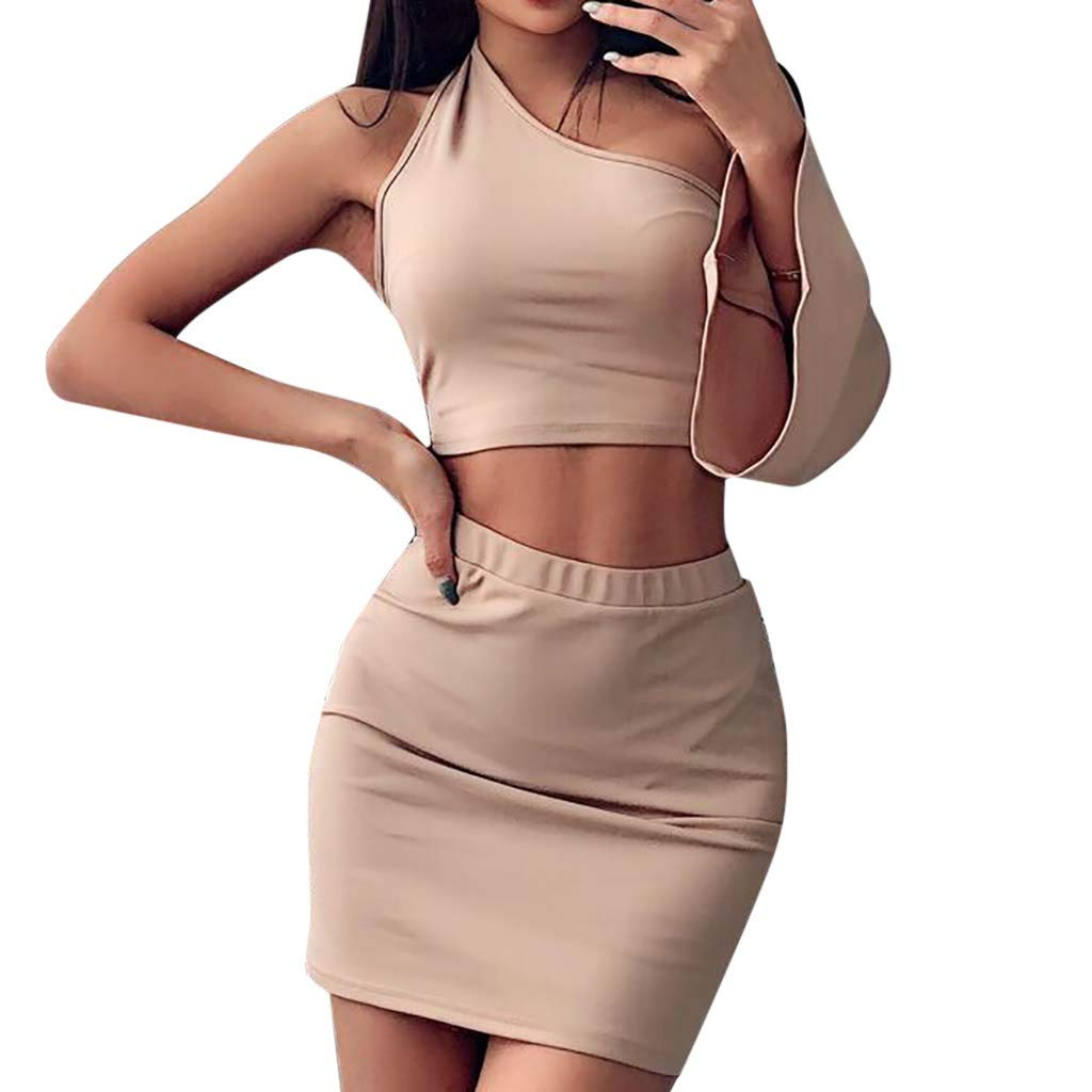 Onefa One-Shoulder Horn Sleeve Backless Top Skirt Two-Piece Suit, Women Sexy Two Piece Crop Top+Skirt Long Sleeve Mini Skirt