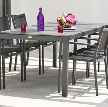 DCB Table London 200x100 cm en Aluminium et Verre Finition ...