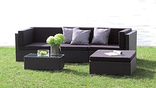 poly rattan lounge set kampen absolut wetterfest variable liegefl che mit wasserabweisenden. Black Bedroom Furniture Sets. Home Design Ideas