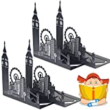 Decorative Art Bookends Black Metal Non Skid Heavy Duty Bookends for Office,London Big Ben by Sun Cling,2 Pairs
