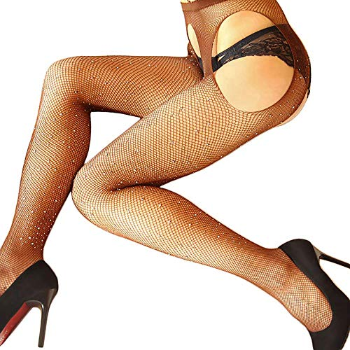 Fishnet Design (MISSGGBOND Women's Sexy Crotchless Fishnet Stockings Mesh Hollow Out Pantyhose Tights With Sparkle Rhinestone (One Size, White Rhinestone/Brown))