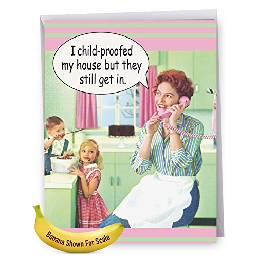 J0102MDG Jumbo Funny Mother's Day Card: Child Proof With Envelope (Extra Large Version: 8.5'' x 11'')