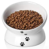 Y YHY Ceramic Raised Cat Food Bowl, Slanted Cat Dish, Tilt Angle Protect Cat's Spine, Stress Free, Backflow Prevention, Gift for Cat, White