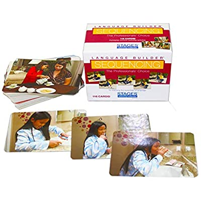 Stages Learning Materials Language Builder Sequencing Flash Cards Photo Action and Self-Help Skills Sequence Cards for Autism Education and ABA Therapy: Toys & Games