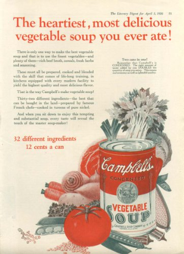 Heartiest Most Delicious Campbell's Tomato Soup ad 1926 ()
