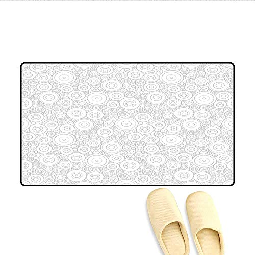 Door Mats Different Sized Circles and Rounds Simple Geometric Style Graphic Print Shabby Home Decor Bath Mats for Bathroom Grey White 20