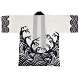 Festival Hanten Happi Coat Japanese pattern White wave(6488)