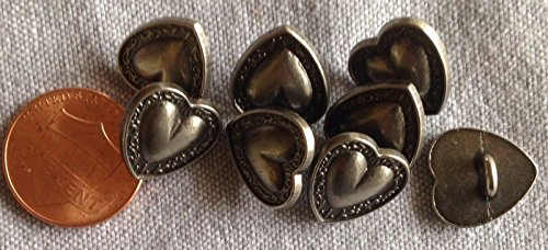 ShopForAllYou Buttons Craft Sewing 8 Dark Silver Tone Slightly Domed Metal Heart Buttons Almost 9/16