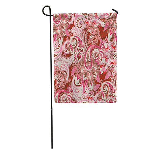 (Semtomn Garden Flag Arabesque Based on Traditional Asian Paisley Boho Vintage Best Motive Home Yard House Decor Barnner Outdoor Stand 12x18 Inches Flag)