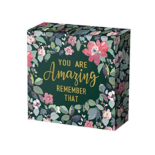 SANY DAYO HOME 8 x 8 inches Colorful Wooden Box Sign with Inspirational Saying for Home and Office Decor - You are Amazing Remember That (Sign Gift Inspirational)