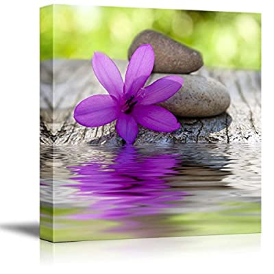 Canvas Prints Wall Art - Natural Flower with Stones and Water Spa/Zen/Wellness Concept | Modern Wall Decor/Home Decoration Stretched Gallery Canvas Wrap Giclee Print & Ready to Hang - 16