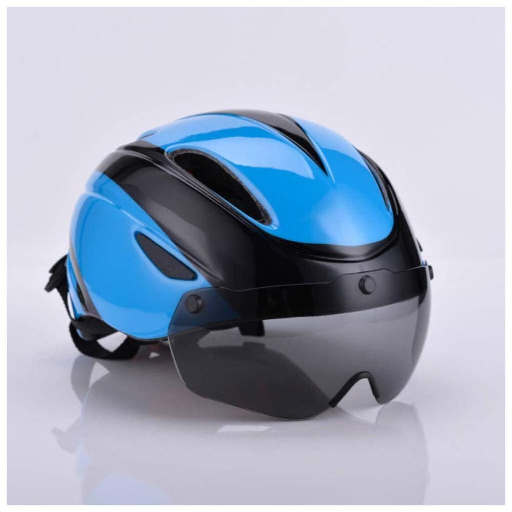 AZW@ Fahrradhelm Mit Magnetischer Brille, Unisex-Mountainbike-Reithelm, Geeignet Für Outdoor-Reitausrüstung Für Erwachsene,Blau,57-62cm