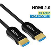 Fiber HDMI Cable 4K HDR 25ft 60Hz, FURUI Fiber Optic HDMI 2.0b Cable ARC, HDCP2.2, 3D, High Speed 18Gbps Subsampling 4:4:4/4:2:2/4:2:0 Slim and Flexible HDMI Fiber Optic Cable