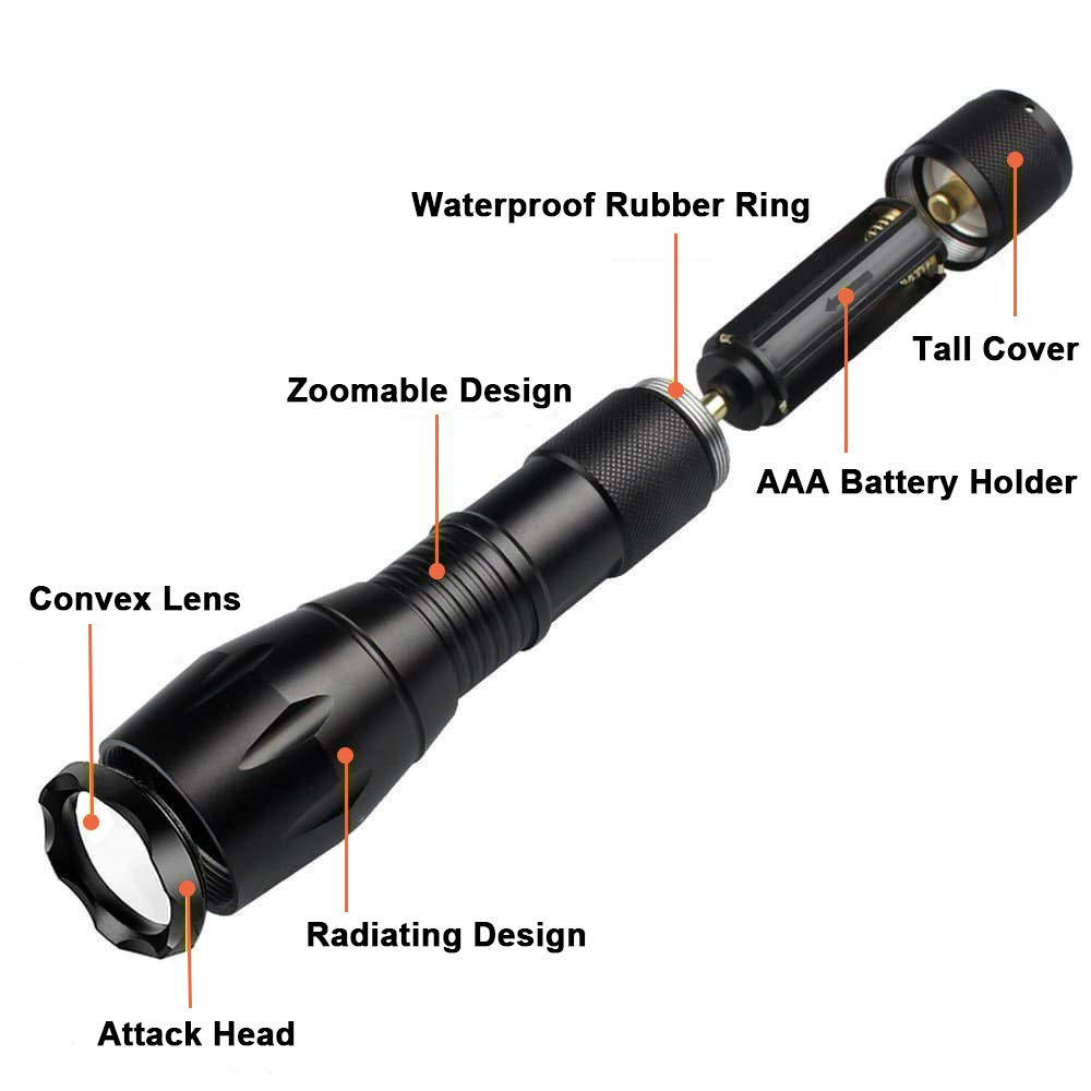 Beike 2 Pack 1000 lumens Tactical Flashlights, Super Bright Handheld Outdoor CREE LED Torch Flashlight with Adjustable Focus 5 Light Modes for Camping Hiking Emergency(AAA Batteries Included) by Beike (Image #3)
