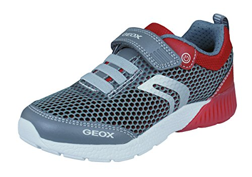 Geox Boys' J Sveth B Low-Top Sneakers Grey/red, 1 UK Child ()