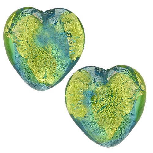 Murano Glass Bead Abstract Heart 13mm Aqua and Green Silver Foil, 2 Pieces -