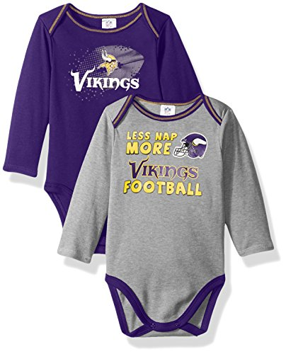 NFL Minnesota Vikings Boys Long Sleeve Bodysuit (2 Pack), 3-6 Months, Purple