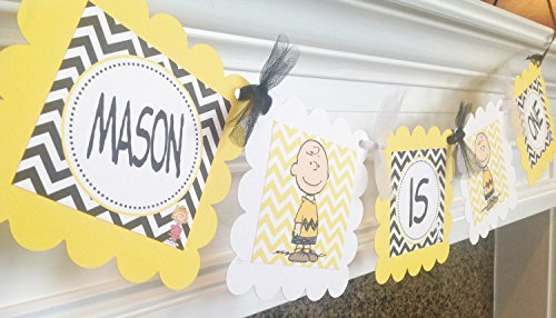 I AM 1 Scalloped Banner - Charlie Brown Inspired Happy Birthday Collection - Yellow and Black Chevron & White Accents - Party Packs -