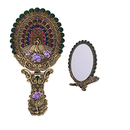 Moiom Vintage Foldable Peacock Spread Tail Pattern Makeup Hand/Table Mirror,Decorative Mirror (Bronze)
