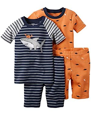 Carters 4 Piece PJ Set (Toddler/Kid) Sharky Blue 18 M