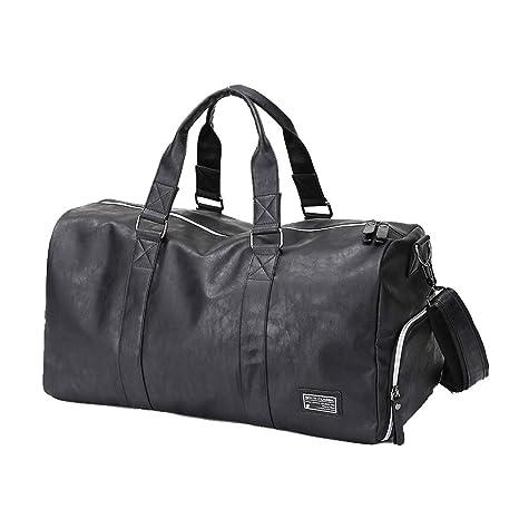 8bd41f583e52 HaloVa Men's Gym Bag, Travel Duffel Bag, Handbag, Weekender Tote Bag for  Boy, PU Leather, Waterproof, Multifunction, Portable, Lightweight, Large