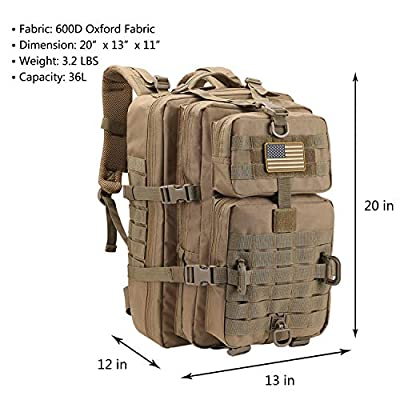 Hannibal Tactical 36L MOLLE Assault Pack, Tactical Backpack Military Army Camping Rucksack, 3-Day Pack Trip w/USA Flag Patch, D-Rings