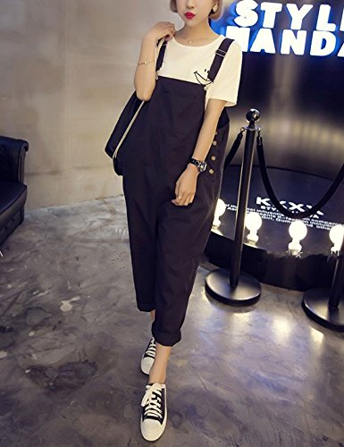 9969c93bf50 Yeokou Women s Loose Baggy Cotton Wide Leg Jumpsuit Rompers Overalls Harem  Pants (X-Small