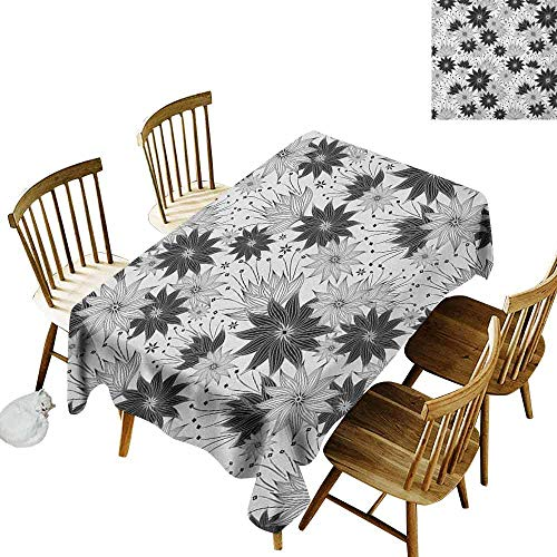 DONEECKL Grey Leakproof Tablecloth Suitable for Buffet Table Illustration of Old Fashion Various Size Spiral Vintage Flowers Urban Design Artistic White Black W60 xL102