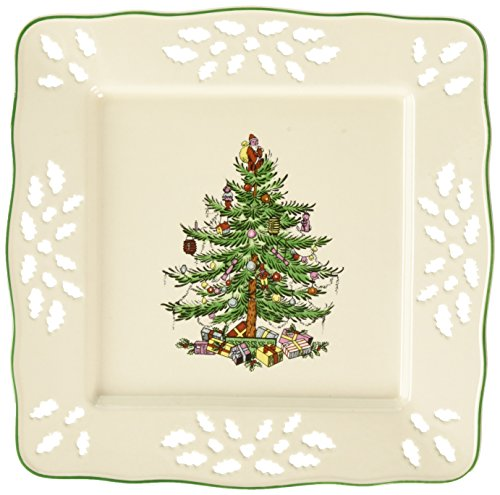 Spode Christmas Tree Pierced Square Tray (Dishes Beautiful Christmas)