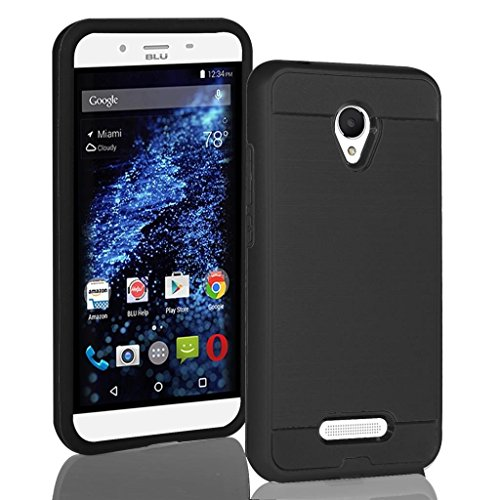 BLU Studio X8 HD Case, Tough Hybrid + Dual Layer Shockproof Drop Protection Metallic Brushed Case Cover + Screen Protector for Studio X8 HD (S530) (VGC Black + SP)