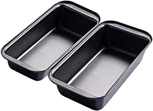 Nonstick Carbon Steel Baking Bread Pan, 10 x 5 Inch, Set of 2,Large Loaf Pan Square bread Pan (Grey)
