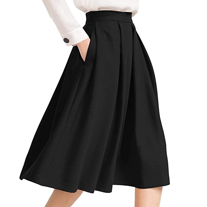 on sale 779e2 a0673 Longra Gonna Vintage A-Line Skirts Flared Fashion Midi Pieghe Gonne a Vita  Alta Gonna Nera Con Tasche Gonna Autunnale Gonna Mezza Lunghezza