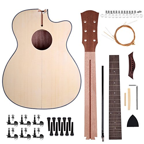 Caiyuangg 40'' Steel String Acoustic Guitar, DIY Guitar Unfinished Kit for Students Kids Guitar Player Music Lovers Luthier Projects Kit