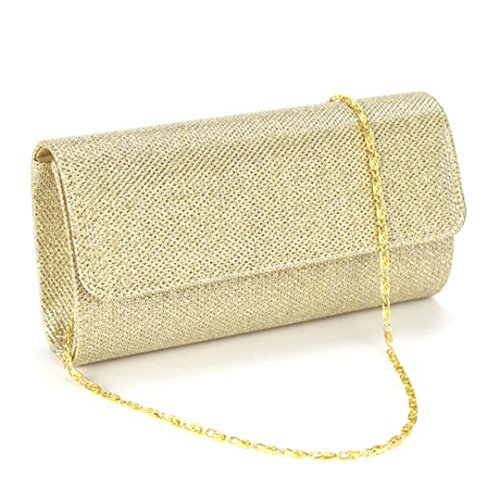 (Naimo Flap Dazzling Small Clutch Bag Evening Bag With Detachable Chain (Gold))