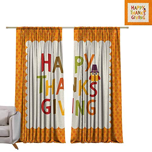 (berrly Drapes for Living Room Kids Thanksgiving,Little Owl with Pilgrims Hat Celebratory Phrase and Polka Dots, Orange Multicolor W96 x L84 Tie Up Printed Blackout Curtain)