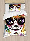 Big buy store Sugar Skull Duvet Cover, Cultural Celebration Mexican Traditional Make Up Girl Face in Watercolors Art, Decorative 4 Piece Bedding Set with 2 Pillow Sham, Multicolor(Twin)