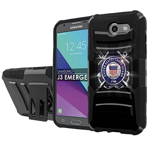 "Galaxy [2017] [J3 Emerge] [5"" Screen] Armor Case [SlickCandy] [Black/Black] Heavy Duty Defender [Holster] [Kick Stand] - [United States Coast Guard] for Samsung Galaxy J3 Emerge [2017]"